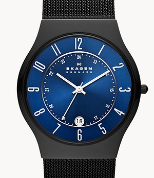 Grenen Titanium and Black Steel-Mesh Watch
