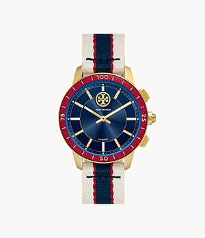 Tory Burch Collins Hybrid Smartwatch - MultiColour Grosgrain