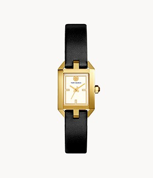 Tory Burch Dalloway Three-Hand Black Leather Watch