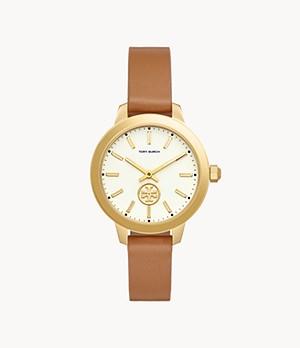 Tory Burch Collins Gold-Tone and Luggage Leather Two-Hand Watch