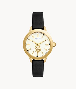 Tory Burch Collins Three-Hand Black Leather Watch