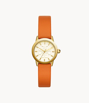 Tory Burch The Gigi Gold-Tone and Orange Leather Watch