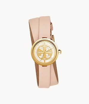 Tory Burch Reva Three-Hand Nude Leather Watch