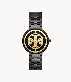 Tory Burch Reva Three-Hand Black Stainless Steel Watch