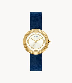 Tory Burch Bailey Three-Hand Navy Leather Watch