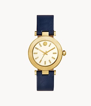 Tory Burch Classic T Three-Hand Navy Leather Watch
