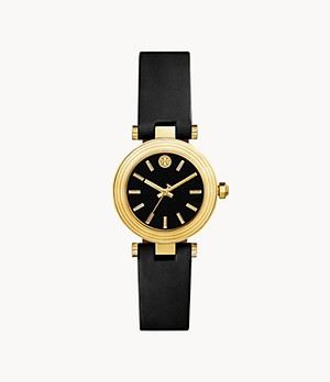 The Classic T Black Leather Three-Hand Watch