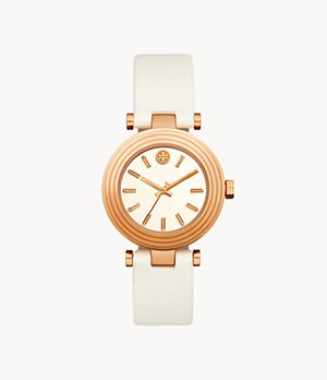 Tory Burch The Classic T Rose Gold-Tone and White Leather Watch