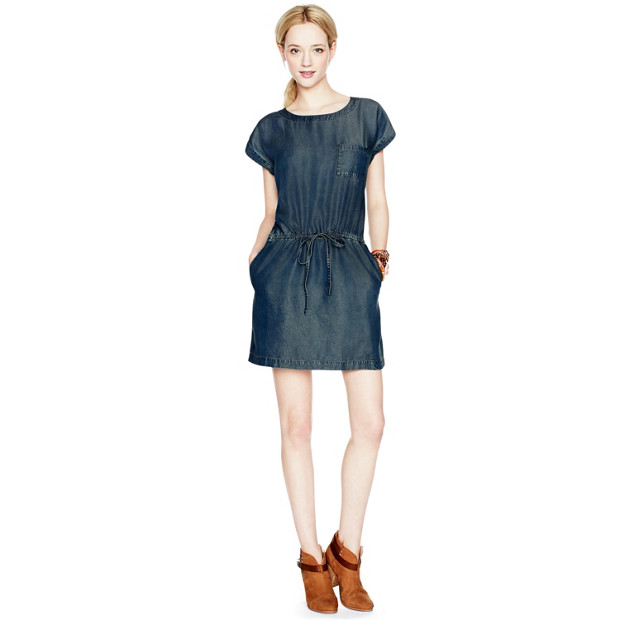 Carrie Tie Waist Chambray Dress