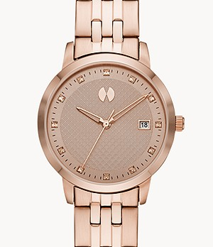 Watch Station Collection Three-Hand Date Rose Gold-Tone Stainless Steel Watch