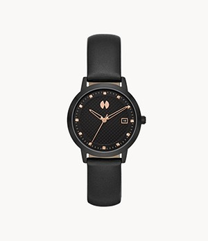 Watch Station Collection Three-Hand Date Black Leather Watch