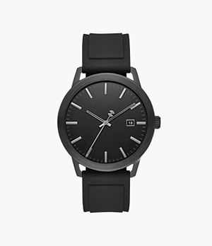 Watch Station Collection Three-Hand Date Black Silicone Watch