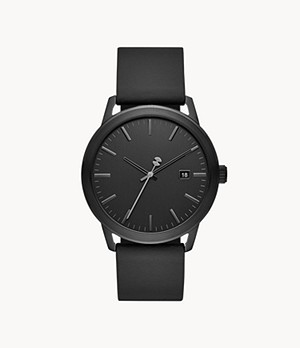 Watch Station Collection Three-Hand Date Black Horween Leather Watch