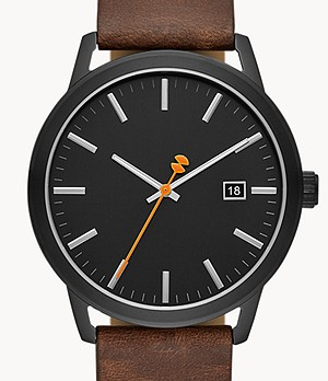 Watch Station Collection Three-Hand Date Dark Brown Horween Leather Watch