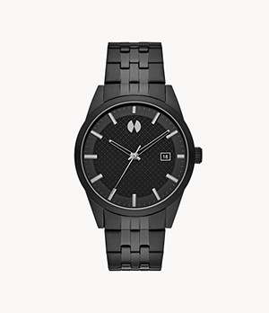 Watch Station Collection Three-Hand Date Black Steel Watch