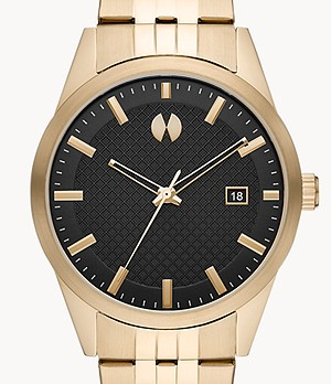 Watch Station Collection Three-Hand Date Gold-Tone Stainless Steel Watch