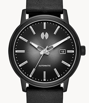 Watch Station Collection Automatic Black Horween Leather Watch