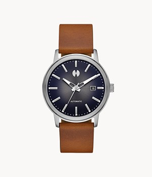 Watch Station Collection Automatic Dark Brown Horween Leather Watch