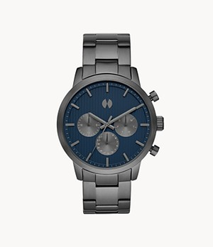 Watch Station Collection Multifunction Gunmetal Stainless Steel Watch