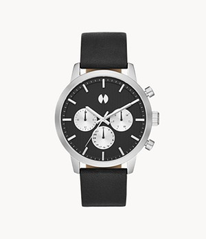 Montre Collection Watch Station en cuir noir multifonction de la