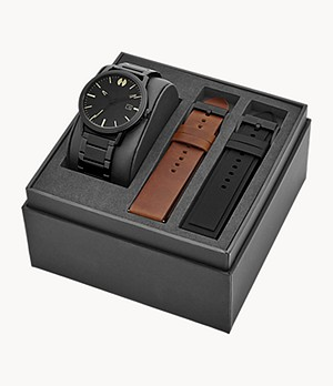 Watch Station Collection Three-Hand Date Black Stainless Steel Watch Gift Set
