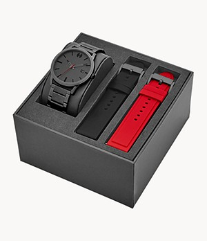 Watch Station Collection Three-Hand Date Gunmetal Stainless Steel Watch Gift Set