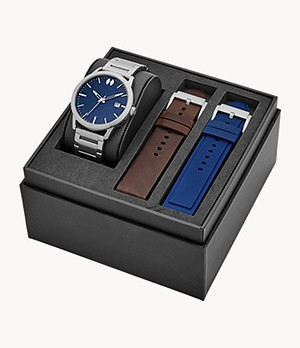 Watch Station Collection Three-Hand Date Brown Stainless Steel Watch Gift Set