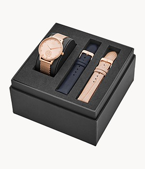 Watch Station Collection Three-Hand Date Rose Gold Stainless Steel Watch Gift Set