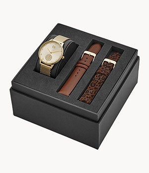 Watch Station Collection Three-Hand Date Gold Steel Watch Gift Set