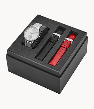 Watch Station Collection Three-Hand Date Silver Steel Watch Gift Set