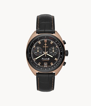 Grandrally Quartz Black Leather Watch